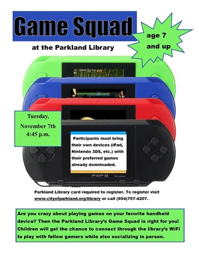 Game Squad at the Parkland Library