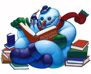 snowman with books