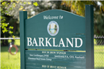 Barkland Dog Park welcome sign